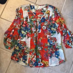 Anthropologie floral blouse by Fig and Flower.